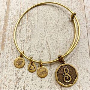 Alex and Ani S Initial Charm Bangle Bracelet